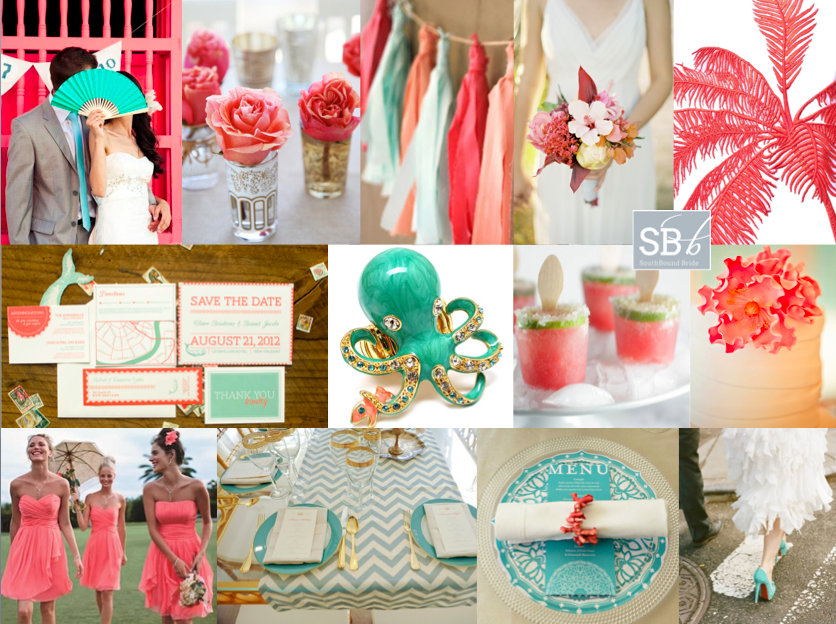 Inspiration Board: Tropical Coral & Mint | SouthBound Bride