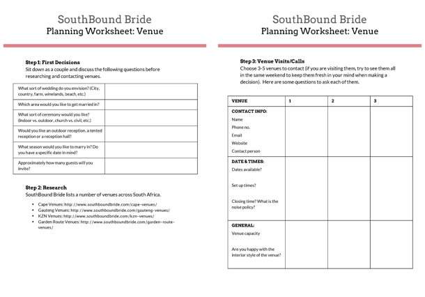 Downloadable Worksheet: Venue Planning | SouthBound Bride