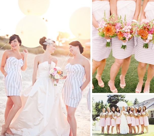 Brides bridesmaids blooms bridesmaids in stripes for Striped bridesmaid dresses wedding