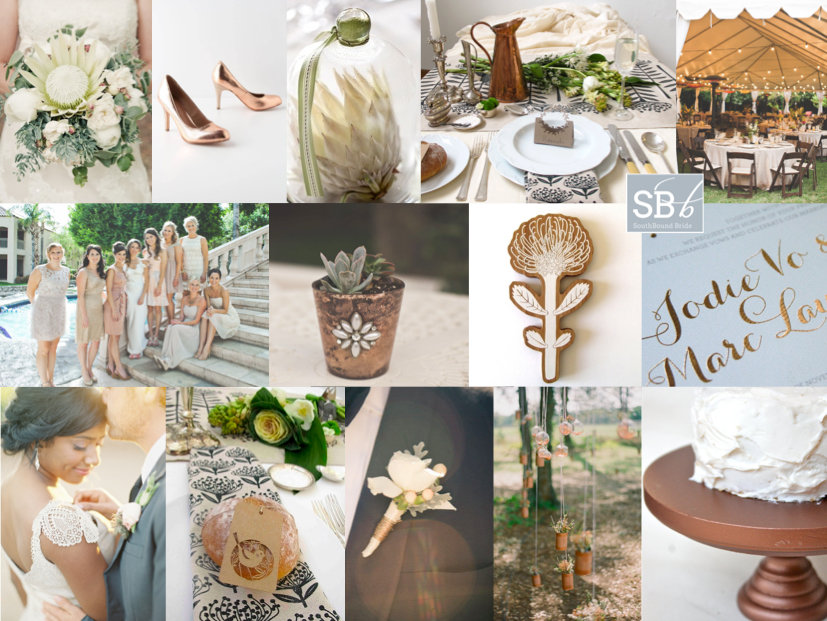 Inspiration Board: Copper & Ostrich Egg | SouthBound Bride