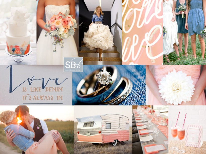 Inspiration Board: Denim, Peach & Coral | SouthBound Bride