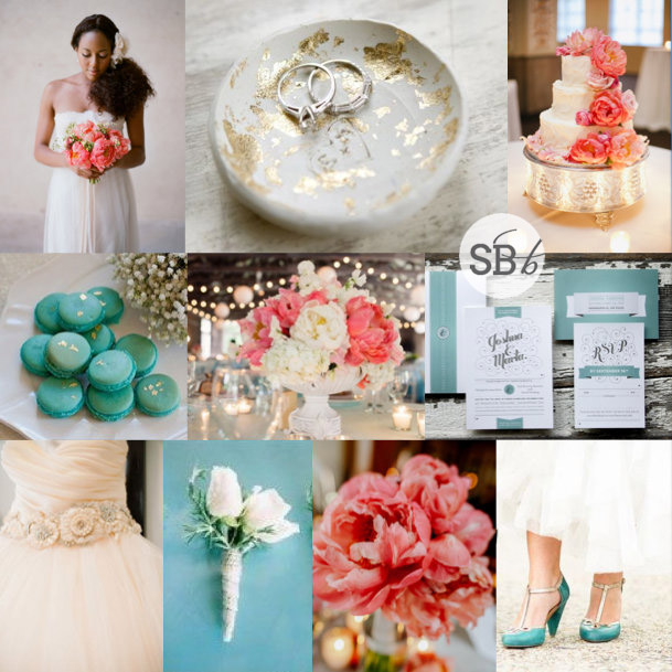 Inspiration Board: Coral, Teal & Gold Leaf | SouthBound Bride