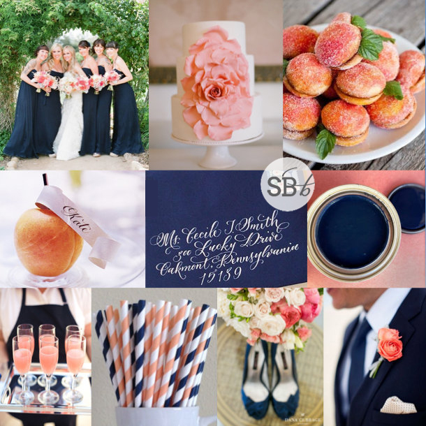 Inspiration Board: Navy, Peach & Apricot | SouthBound Bride